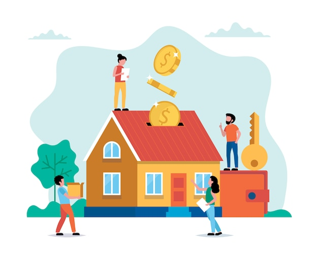 Investing money in real estate, buying house, small people doing ...
