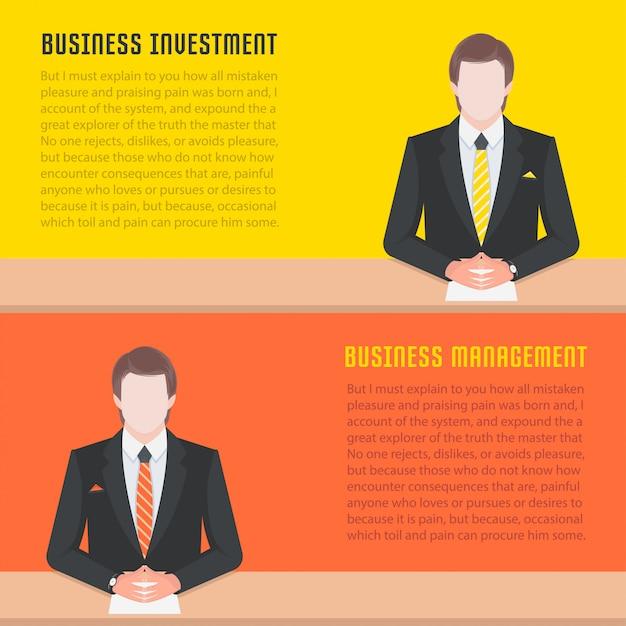 ウェブサイトのバナーとリンク先ページのビジネス管理とinvestme Premiumベクター