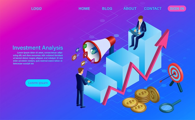 Investment analysis web template Premium Vector