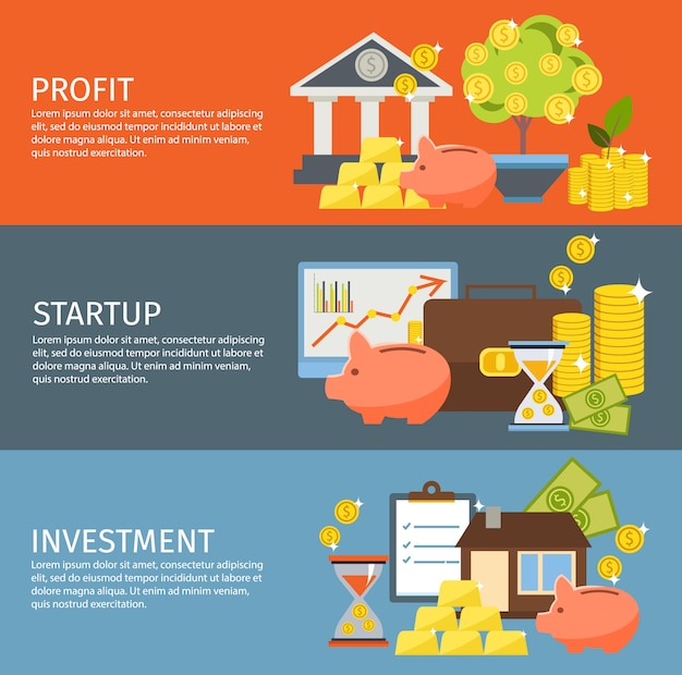 Investment banner set Free Vector