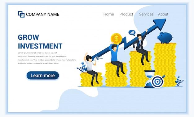コインの上に座っているビジネスマンとの投資コンセプト、成功はビジネスを成長させ、金銭的利益を増加させます。 Premiumベクター