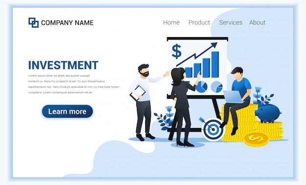 グラフィックグラフ、成長成功ビジネスを示すプレゼンテーションの人々と投資の概念。 Premiumベクター