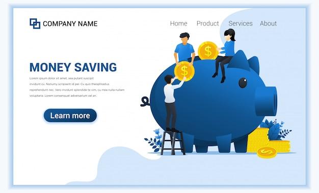 貯金箱にお金を入れて人々の投資コンセプト。お金を稼ぐか節約する。 Premiumベクター