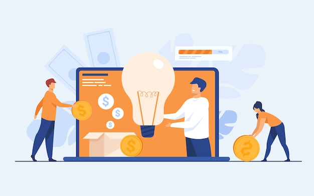 Investment and crowdfunding concept Free Vector