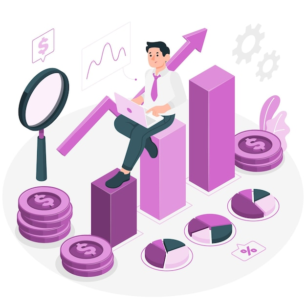 Investment data concept illustration Free Vector
