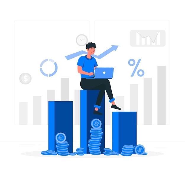 투자 데이터 개념 그림 무료 벡터