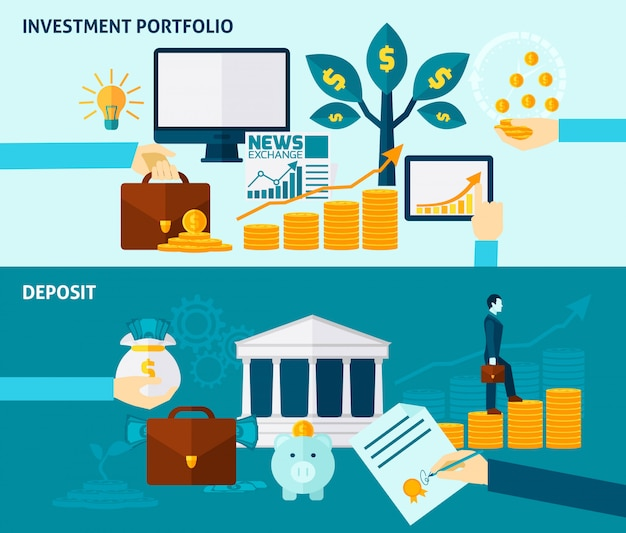 Investment flat banner set Free Vector