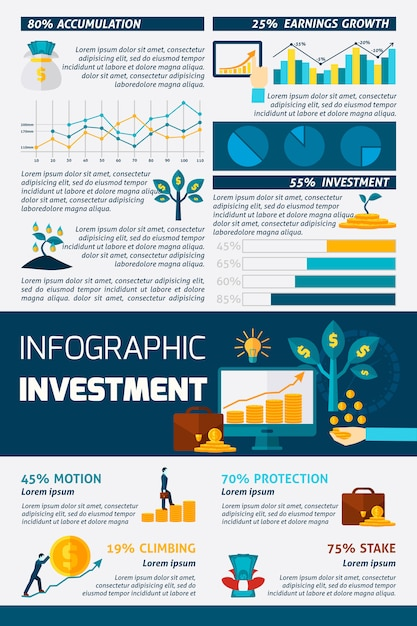 Investment flat color infographic Free Vector