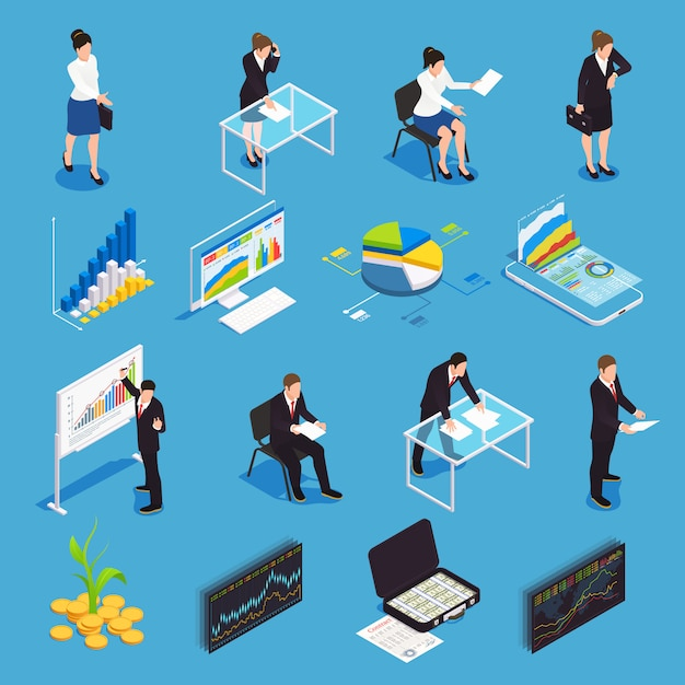 Investment funds isometric icons set with  financial market growth diagram economist manager strategy stock exchange Free Vector