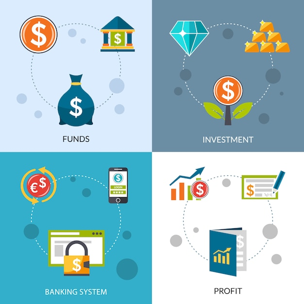 Investment funds profit icons set Free Vector