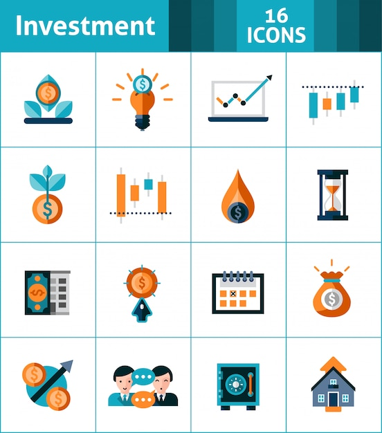 Investment icons set Free Vector