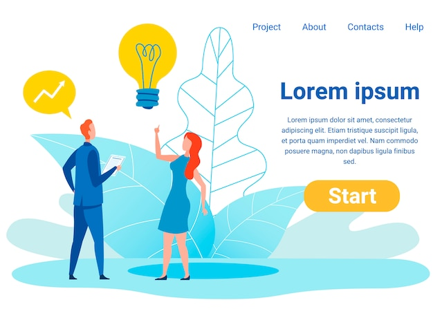 Investment ideas flat  landing page template Premium Vector