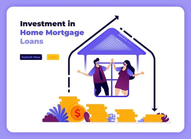 장기 수익률 증가와 함께 가족 주택 융자에 대한 투자. 프리미엄 벡터