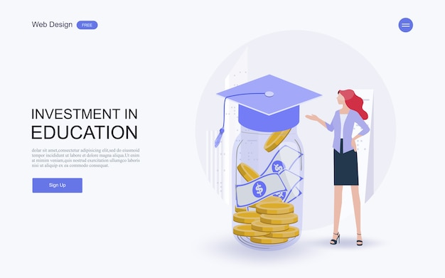 知識、ローン、奨学金、研究のための貯蓄への投資。 Premiumベクター