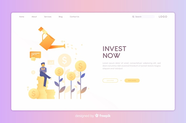 Investment landing page Free Vector