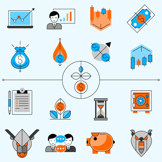 Investment line icons set Free Vector