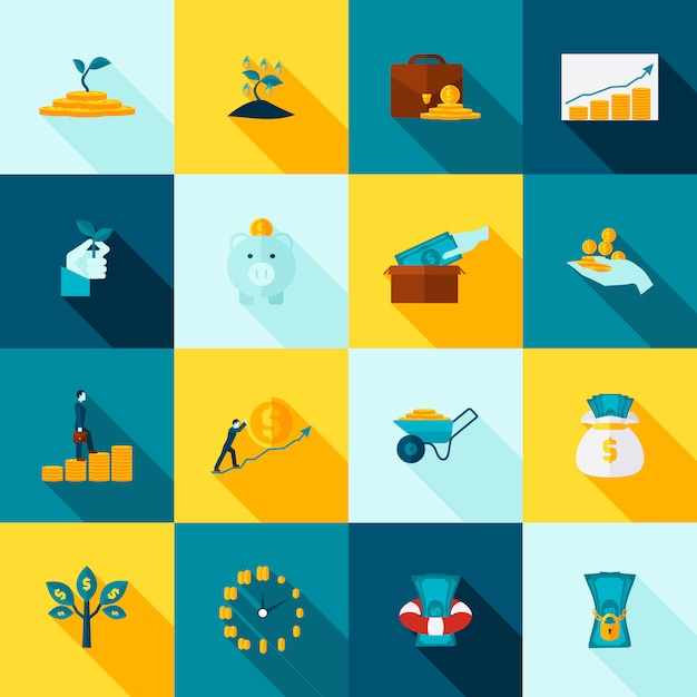 Investment long shadows icon set Free Vector