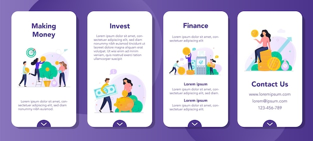 Investment mobile application banner set. making money concept. idea of investing and finance growth. money tree with currency on it, savings and banking. Premium Vector