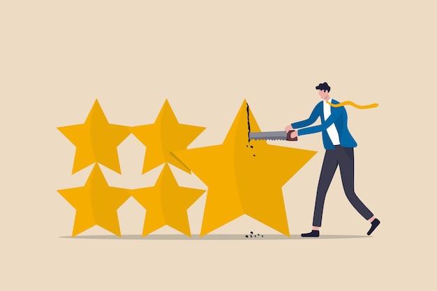 投資評価の格下げ、住宅ローンや債券のクレジットスコア、または企業ローンのコンセプト、ビジネスマンのクレジットスコアのスタッフが星を切って格下げまたはスコアを下げる。 Premiumベクター