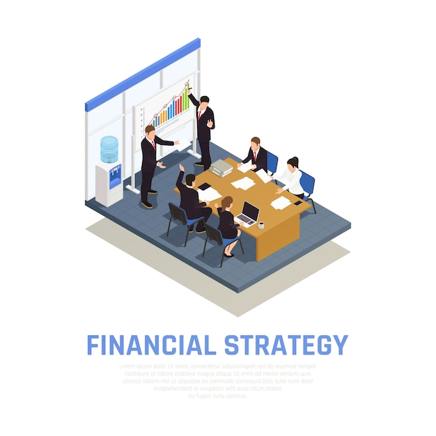 Investment strategies of fund managers isometric composition with financial growth benefits and risks evaluating presentation Free Vector