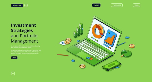 Investment strategies and portfolio management isometric landing page Free Vector