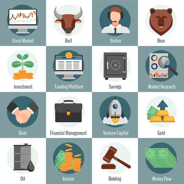 Investment and trading flat icons set for web design with bull bear broker gold oil bidding symbols isolated vector illustration Free Vector
