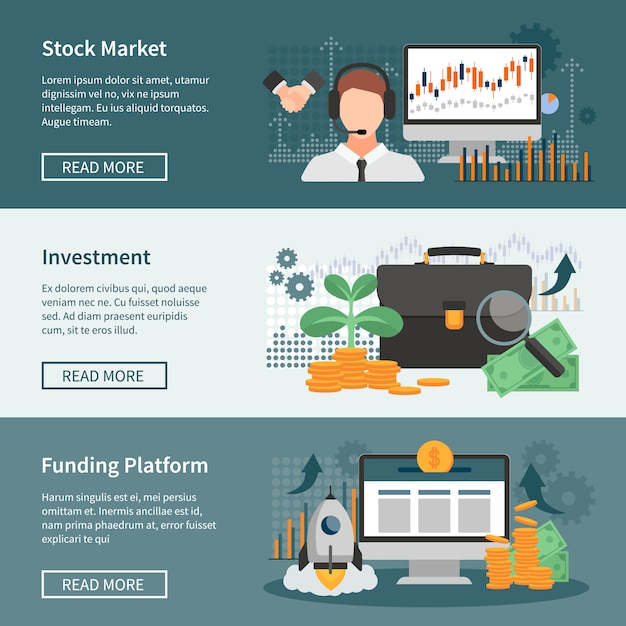 Investment and trading horizontal banners set Free Vector