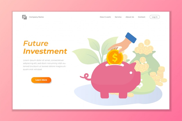 Investment web banner background with piggy bank Premium Vector