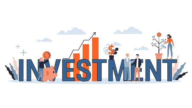 投資webバナーのコンセプトです。お金の増加と金融の成長のアイデア。ビジネス利益。スタイルのイラスト Premiumベクター