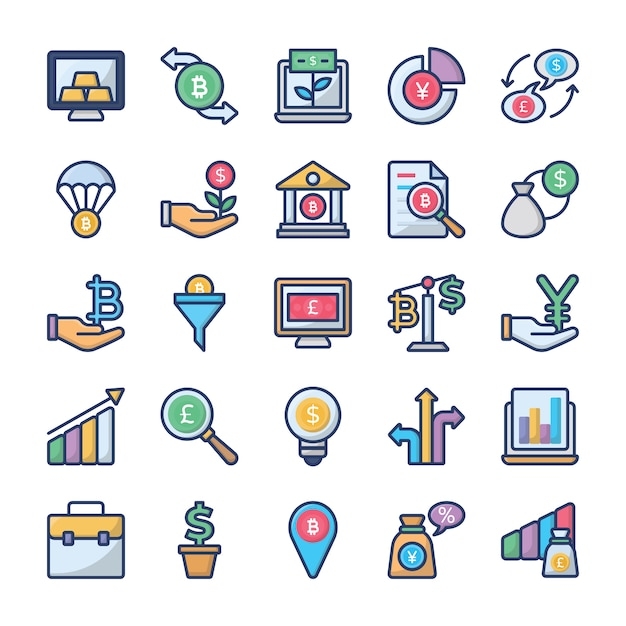 Investments and finance icons collection Premium Vector