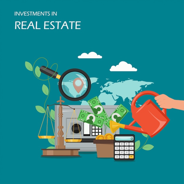Investments in real estate  flat illustration Premium Vector