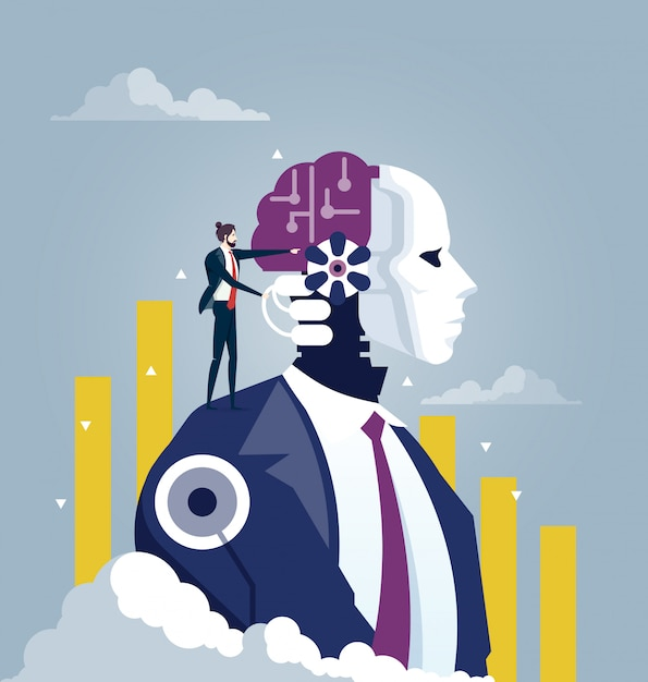 Investor and artificial intelligence concept Premium Vector