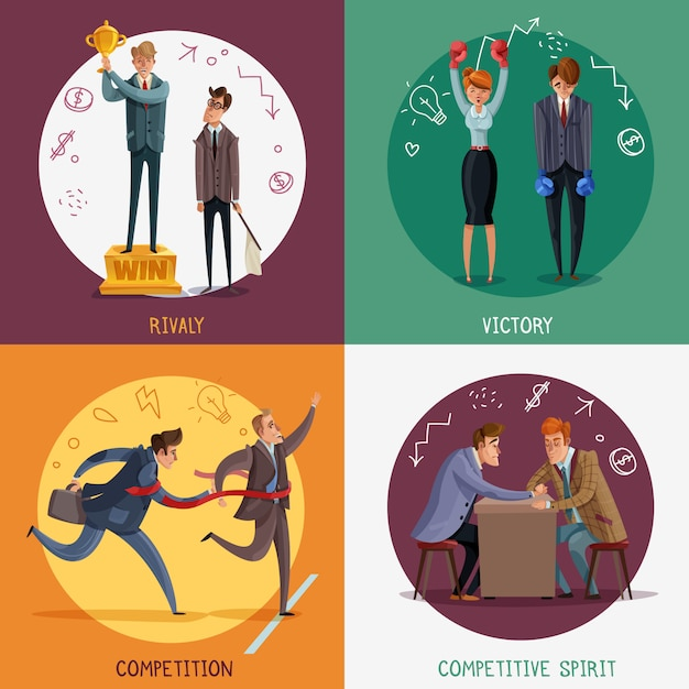 Investor business winner loser characters concept with doodle style people and sketch pictograms with text Free Vector