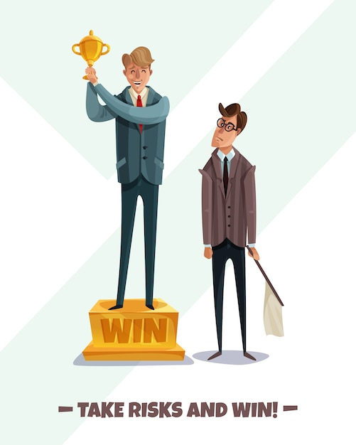 Investor business winner loser characters men  with two male businessmen characters take risks and win Free Vector