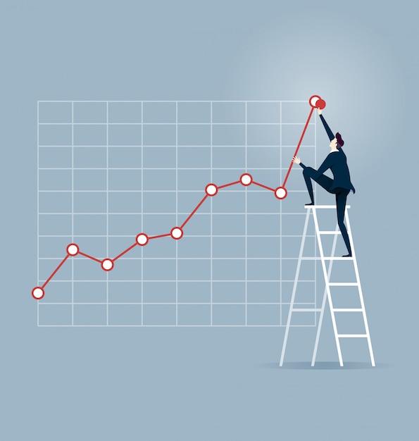 Investor. businessman climbing up on a ladder Premium Vector