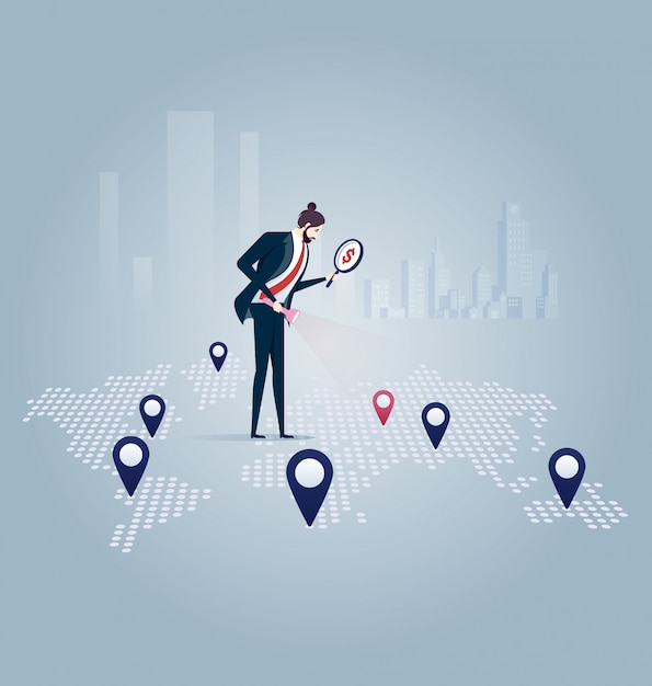 Investor. businessman looking for investment opportunity Premium Vector