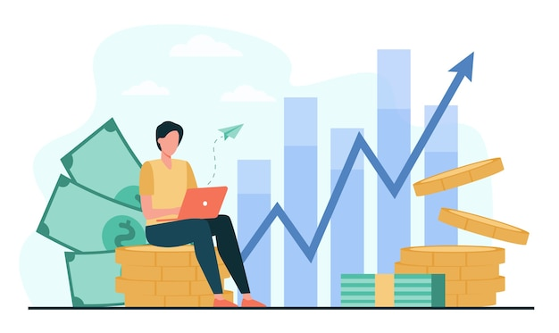 配当の増加を監視するラップトップを持つ投資家。お金の山に座って、資本を投資し、利益グラフを分析するトレーダー。金融、株式取引、投資のベクトルイラスト 無料ベクター