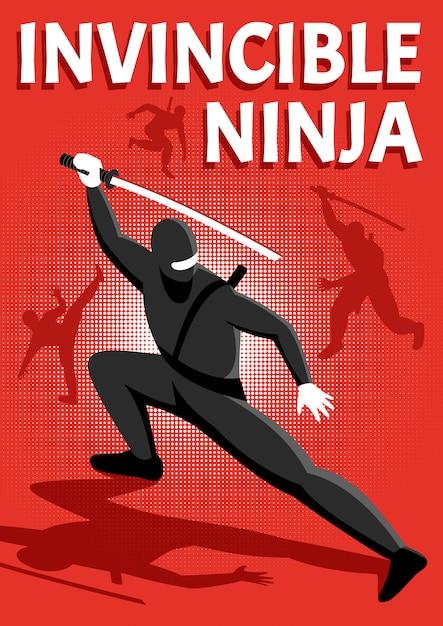 Illustrazione di vettore di carattere isometrico guerriero ninja invincibile Vettore gratuito