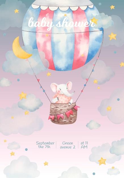 Приглашение на детский душ, акварельные иллюстрации, милый слоник на воздушном шаре среди звезд и облаков Premium векторы