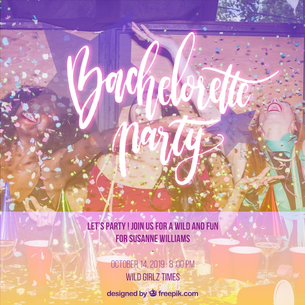Invitation for a bachelorette party Free Vector