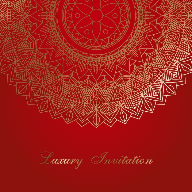 invitation background with decorative mandala design vector free