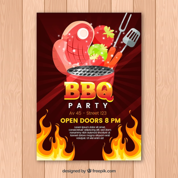 Invitation to the bbq party in flat design Free Vector