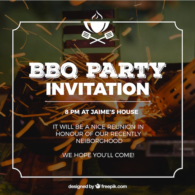 Invitation for bbq party Free Vector
