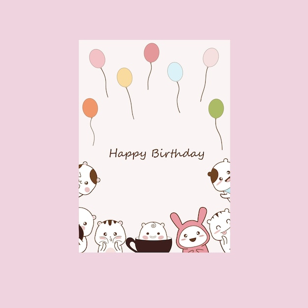 Invitation birthday party with cute cartoons Premium Vector