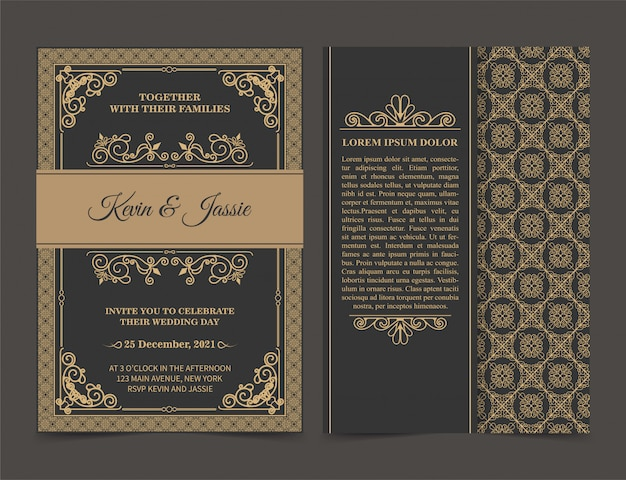Premium Vector Invitation Card Design Vintage Style