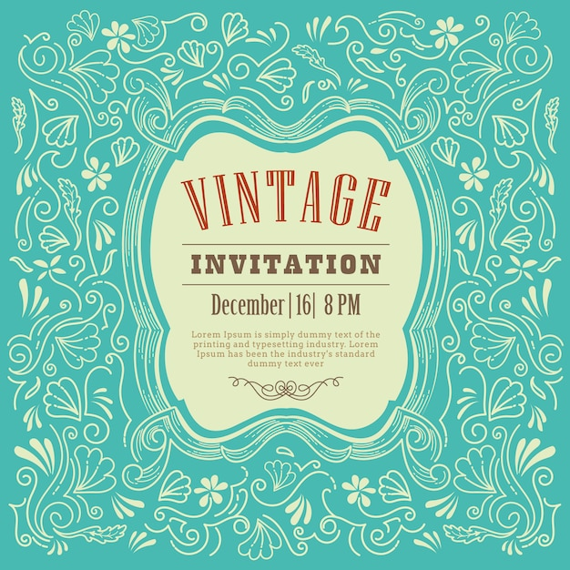 Invitation card design vintage template vector Premium Vector