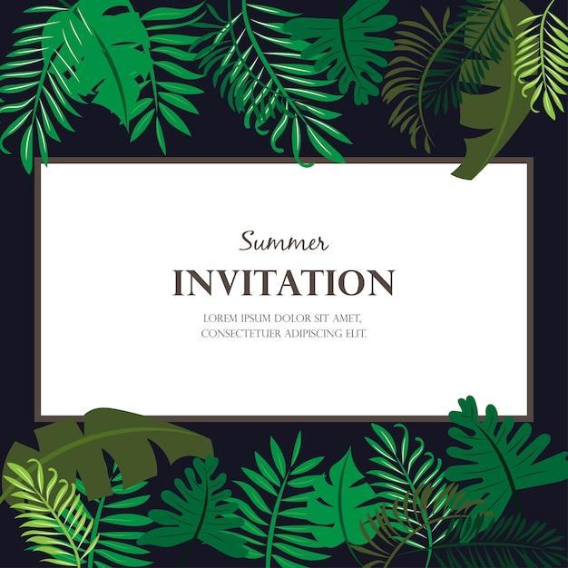 Invitation card design with jungle leaves vector premium download invitation card design with jungle leaves premium vector stopboris Images