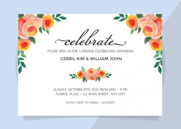 Invitation Card For Dinner Celebration With Watercolor