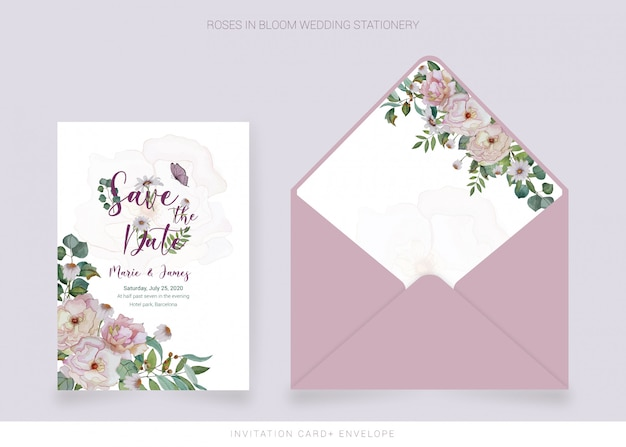 Invitation card, envelope with watercolor painted flowers Premium Vector