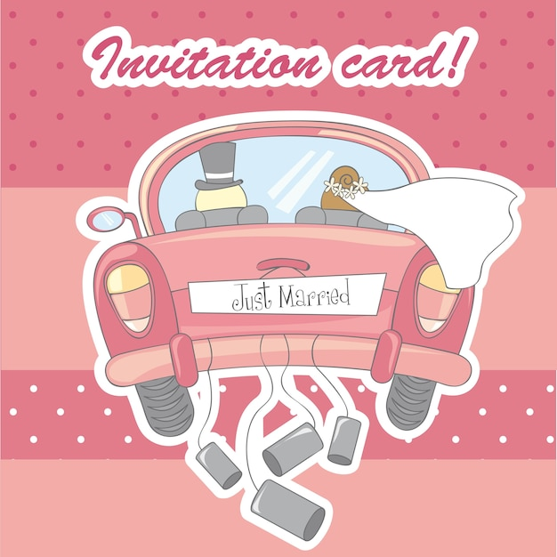 Invitation card for marriage over pink background vector Premium Vector